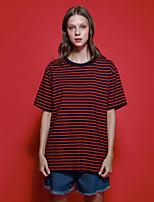neato Frauen kurze, einfache Sommer t-shirtstriped Rundhals Ärmel rot / grün / gelb Baumwolle des Ausgehen