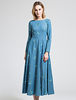 BORME Women's Round Neck Long Sleeve Maxi Dress-Y041