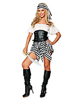 Cosplay Costumes / Party Costume Pirate Festival/Holiday Halloween Costumes Black/White Striped Skirt / Belt / Hat Halloween Female