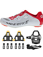 SD002 Cycling Shoes Unisex Road Bike Nylon White / Red-sidebike And ShimanoR550 Rock Pedals