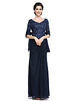 Lanting Bride®Sheath / Column Mother of the Bride Dress - Elegant Ankle-length Half Sleeve Chiffon / Lace with Lace