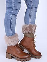 Women's Winter Knitting Warm Flanging Imitation Fur Leg Warmers