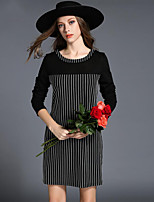 Women's Simple Bodycon DressStriped Round Neck Mini Long Sleeve Black Polyester Fall Mid Rise Micro-elastic Thin
