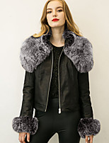 Women's Plus Size / Casual/Daily Simple Fur CoatSolid Shirt Collar Long Sleeve Winter Black Faux Fur / PU Thick