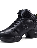 Non Customizable Women's Dance Shoes Leather Dance Sneakers Chunky Heel Beginner / Performance Black EU36-39