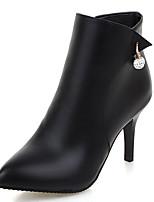 Mujer-Tacón Stiletto-Botas a la Moda-Botas-Oficina y Trabajo Vestido Informal-Semicuero-Negro Rojo Gris