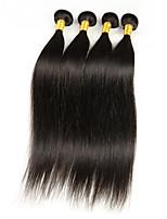 Peruvian Virgin Hair Silky Straight Weft 100% Real Human Hair Extensions Natural Black Color 4bundles/Pack 200g