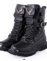 Men's Boots Fall / Winter Riding Boots / Work & Safety Cowhide Outdoor Flat Heel Lace-up Black Cycling
