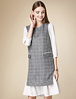 DOF Women's Casual/Daily Cute Fall Set SkirtSolid Round Neck Long Sleeve Gray Cotton Medium