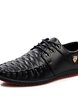 Черный / Синий-Мужской-Для офиса / На каждый день-Полиуретан-На плоской подошве-На плокой подошве-Туфли на шнуровке