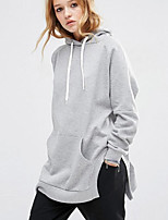 Women's Casual/Daily Simple Long HoodiesSolid Gray Hooded Long Sleeve Cotton / Rayon Fall / Winter Medium Inelastic