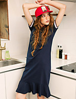 LIANGSANSHI Women's Casual/Daily Street chic Loose Dress,Solid Shirt Collar Midi Short Sleeve Blue / White Cotton Summer