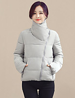 Women's Solid Blue / Pink / White / Black / Gray / Green / Orange Padded CoatStreet chic Turtleneck Long Sleeve