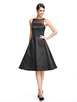 TS Couture Cocktail Party Prom Dress - Little Black Dress A-line Jewel Knee-length Stretch Satin with Embroidery