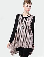 LUTING Women's Round Neck Long Sleeve Sweater & Cardigan Blue / Pink / Dark Gray-8609