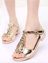 Girl's Sandals Spring / Summer / Fall Sandals PU Outdoor / Casual Flat Heel Bowknot Silver / Gold Walking