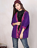 Our Story Women's Going out Boho Regular CardiganJacquard Purple V Neck  Sleeve Cotton / Polyester Spring