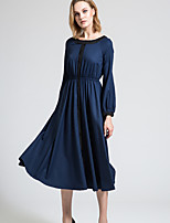 BORME Women's Round Neck Long Sleeve Tea-length Dress-Y044