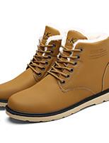 Черный / Синий / Желтый-Мужской-Для прогулок-Дерматин-На плоской подошве-Военные ботинки-Ботинки