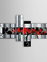 Ready to Hang Stretched Frame Oil Paintings Set of 4 Modern Abstract silvery Flowing Lines Hand-painted Canvas Wall Art