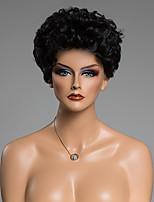 reais peruca de cabelo humano de cabelos claros jato encaracolado sem tampa de moda pretas curtas das mulheres