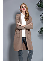 Women's Casual/Daily Simple Long Cardigan,Solid Brown Gray Asymmetrical Long Sleeve Wool Fall Medium Micro-elastic