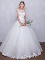 Balklänning Brudklänning Golvlång Rund Tyll med Pärldekorerad / Spets