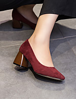 Women's Heels Spring Fall Suede Outdoor Chunky Heel Others Black Burgundy Khaki Walking
