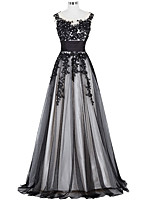 Formal Evening Dress A-line Jewel Floor-length Lace with Appliques / Beading / Lace