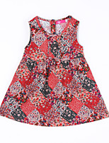 Girl's Casual/Daily Print DressCotton Fall Blue / Red