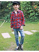 Boy's Plaid ShirtCotton Spring / Fall Black / Green / Red / Yellow