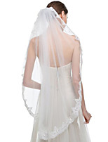 Wedding Veil One-tier Fingertip Veils / Veils for Short Hair Lace Applique Edge Tulle / Lace White / Ivory