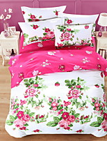 Bedtoppings Comforter Duvet Quilt Cover 4pcs Set Queen Size Flat Sheet Pillowcase Colorful Pattern Prints Microfiber