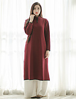 Ramie Cotton Women's Casual/Daily Vintage Swing DressSolid Stand Midi Long Sleeve Red Linen / Others Fall /