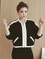 Damen Einfarbig Einfach / Aktiv Lässig/Alltäglich Jacke,Rundhalsausschnitt Herbst / Winter ¾-Arm Schwarz Polyester Mittel