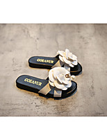 Leatherette Casual Chunky Heel Flower Black / White Walking