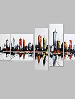 Ручная роспись Пейзаж Картины маслом,Modern / Средиземноморье 5 панелей Холст Hang-роспись маслом For Украшение дома
