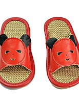 Unisex Slippers & Flip-Flops Spring / Summer / Fall Scuff Cowhide Casual Flat Heel / Split Joint Red / Coffee Others