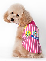 Cat Dog Vest Dog Clothes Summer Sailor Casual/Daily Sports Blue Pink