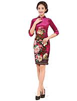 Classic & Traditional Lolita Skirt 3/4-Length Sleeve Short Length Pink Lolita Dress Silk