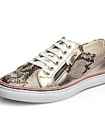 Черный / Золотистый-Мужской-На каждый день / Для вечеринки / ужина-Кожа-На плоской подошве-Удобная обувь-Туфли на шнуровке