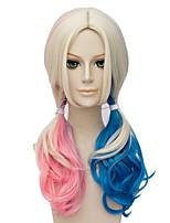 Powder blue gradient The European and American fashion hair version long curly hair