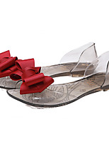 Women's Sandals Summer Sandals / Open Toe PVC Casual Flat Heel Bowknot Black / Red / Champagne Others