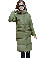 Women's Solid / Letter Multi-color Padded CoatSimple / Cute / Street chic Hooded Long Sleeve