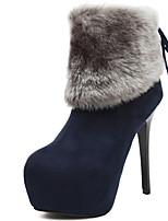 Women's Boots New Arrival Fleece Bootie Ruched Rabbit Hair Winter Platform Stiletto Ankle Boots Black and Blue Colors