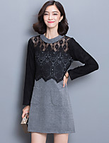 Women's Plus Size / Going out / Casual/Daily Street chic Lace DressPatchwork Crew Neck Above Knee Long Sleeve