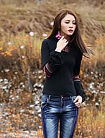 Tee-shirt Femme,Broderie Sortie Vintage Printemps Automne Manches Longues Col Roulé Noir Coton Spandex Moyen