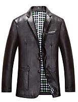 Men's Long Sleeve Casual JacketPU Solid Black / Brown / Tan