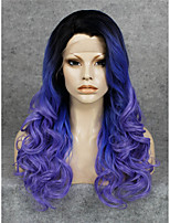 IMSTYLE Purple Ombre Long Wave Synthetic Lace Front Wigs Black Root