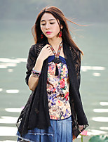 Our Story Going out Sophisticated Spring / Fall Cloak/Capes Deep V  Length Sleeve Black Polyester